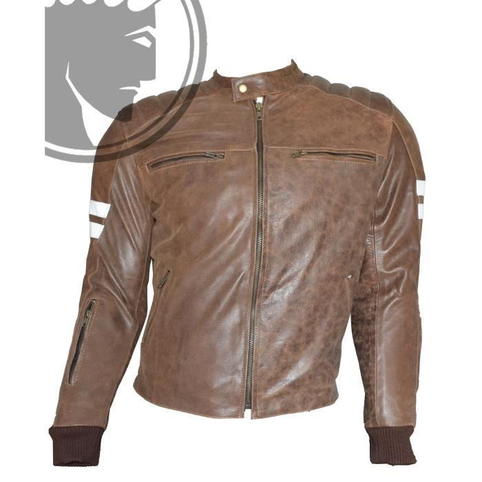 blouson moto homme cuir biker retro marron xl achat vente blouson veste blouson moto homme. Black Bedroom Furniture Sets. Home Design Ideas