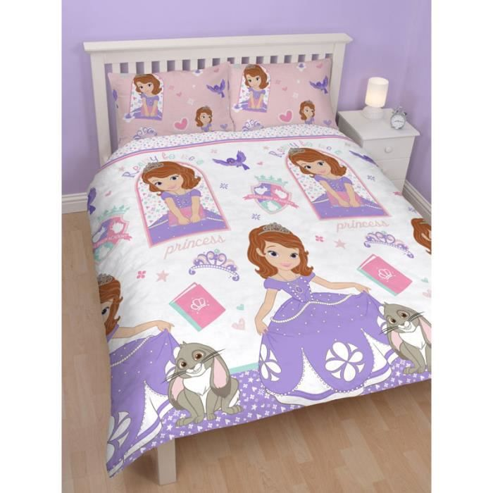 parure de lit double princesse sofia disney achat vente parure de drap cdiscount. Black Bedroom Furniture Sets. Home Design Ideas