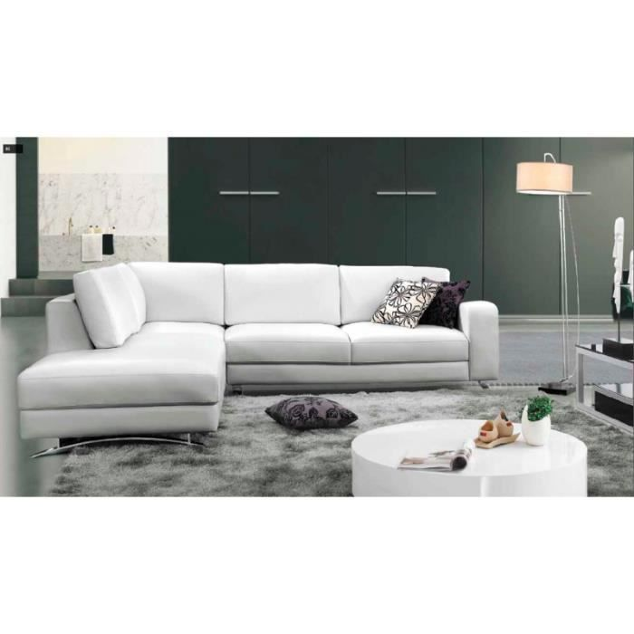 canap d 39 angle contemporain cuir blanc rita achat. Black Bedroom Furniture Sets. Home Design Ideas