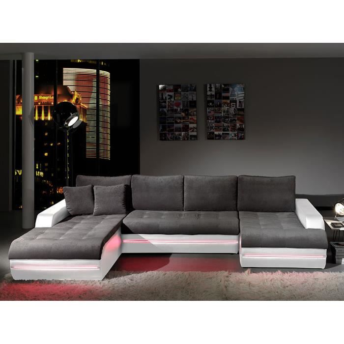 canap d 39 angle en tissu gris et pvc blanc avec clairage. Black Bedroom Furniture Sets. Home Design Ideas