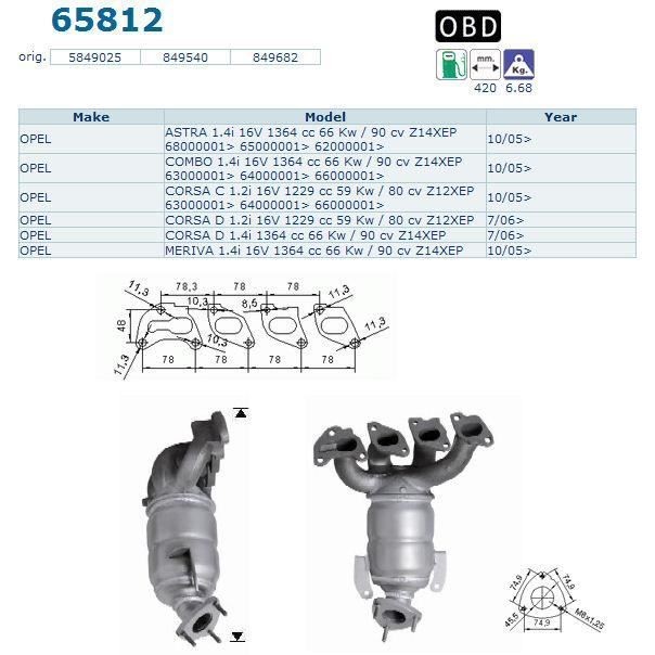 pot catalytique pour opel astra 1 4i 16v 1364 cc 6