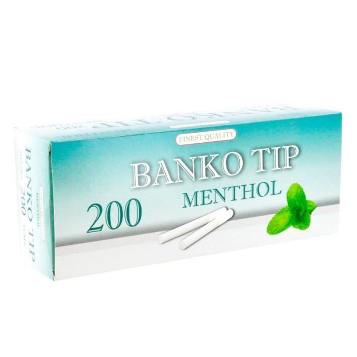 TUBE À CIGARETTE Boite de 200 tubes pour tubeuse - Menthol - Banko