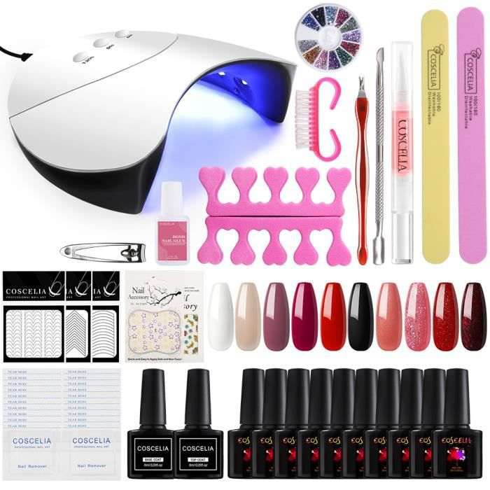 Led Vernis Semi Soak Nail Coat Top Base 10 Pcs Lampe Permanent Art À Débutant Kit Manucure Ongle Off Outils 36w 0O8nPwkX