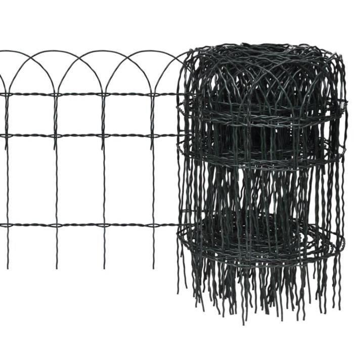 Homgeek Clôture de jardin Grillage Bordure de jardin de fer pour plantes et  animaux vert 25 x 0,4 m