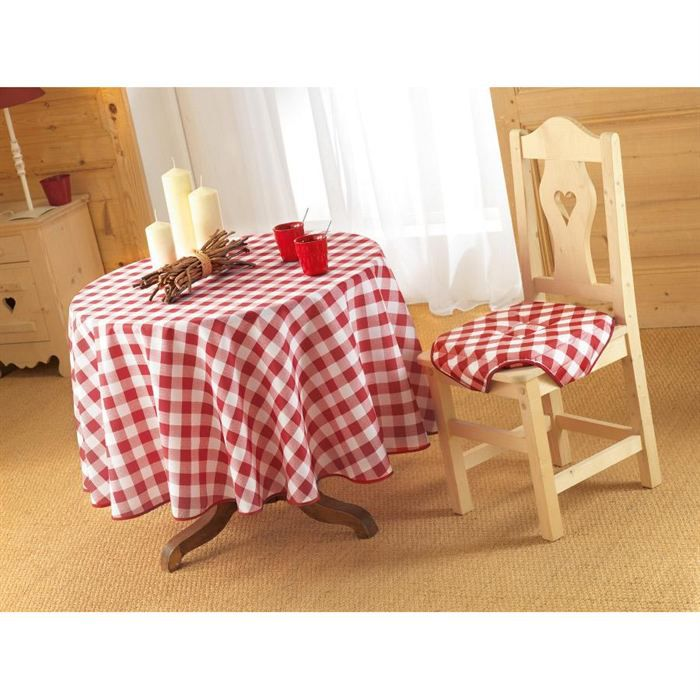 nappe antitache ronde 180cm vichy rouge achat vente nappe de table cdiscount. Black Bedroom Furniture Sets. Home Design Ideas