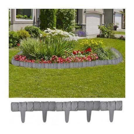 Bordure de jardin imitation pierre 10m maja achat vente cl ture grillage bordure de for Grillage et portillon de jardin