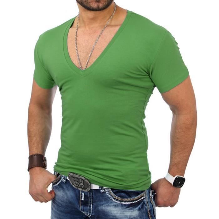 t shirt col v 5052 blanc pour homme tazzio vert vert achat vente t shirt cdiscount. Black Bedroom Furniture Sets. Home Design Ideas