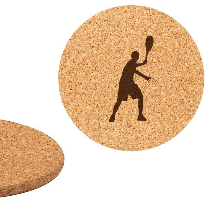 DESSOUS DE PLAT  Dessous de plat en liège 18cm gravé Tennis