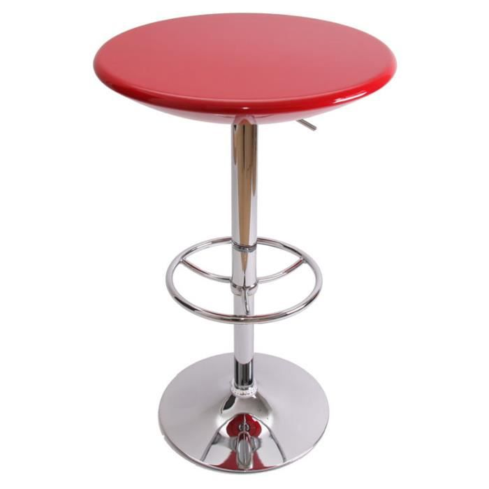 Table bar coloris rouge hauteur r glable diam t achat for Pied table bar reglable