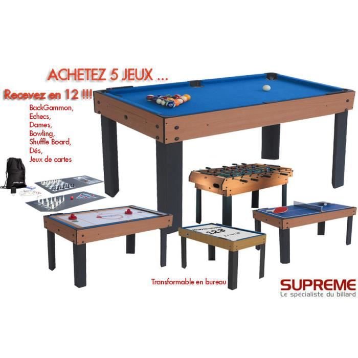 billard multi jeux 12 en 1 bois achat vente table multi jeux cdiscount. Black Bedroom Furniture Sets. Home Design Ideas