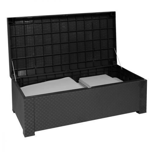 table basse coffre de jardin resine tressee anthracite. Black Bedroom Furniture Sets. Home Design Ideas
