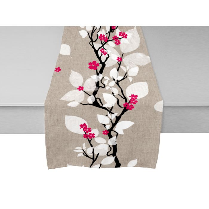 Chemin de table coton recycl leaves rose 40x1 achat - Chemin de table coton ...