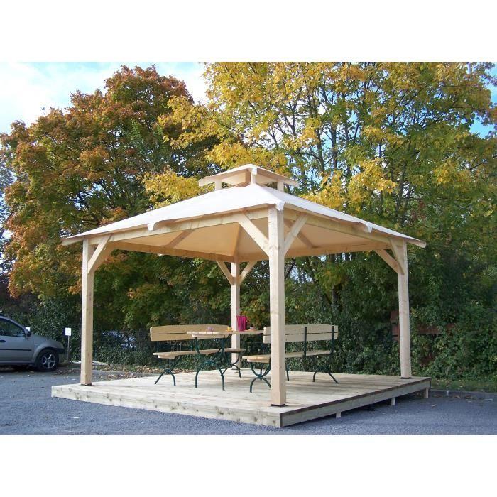 Tonnelle de jardin 12,53m² 4 pentes livrée avec couverture bâche et  aération centrale 4 poteaux