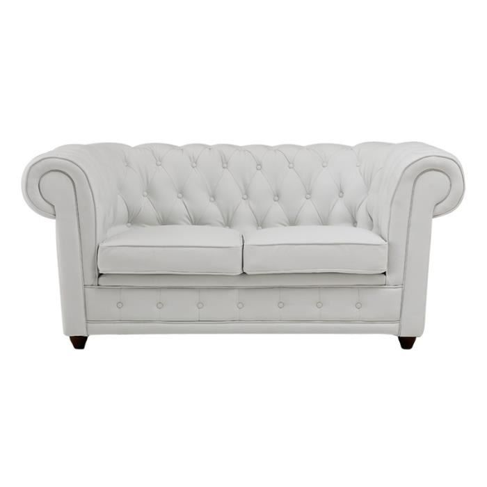 Canap chesterfield 2 places cuir recycl blanc achat for Canape cuir blanc 2 places