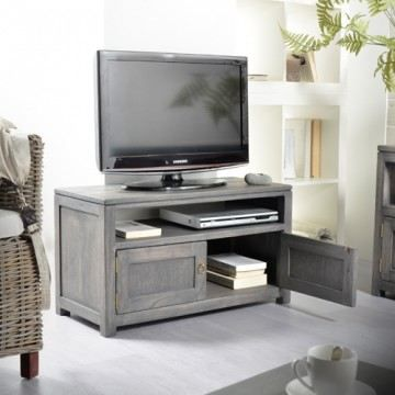 Meuble tv en pin gris 80 mini bello achat vente meuble for Meuble tv pin