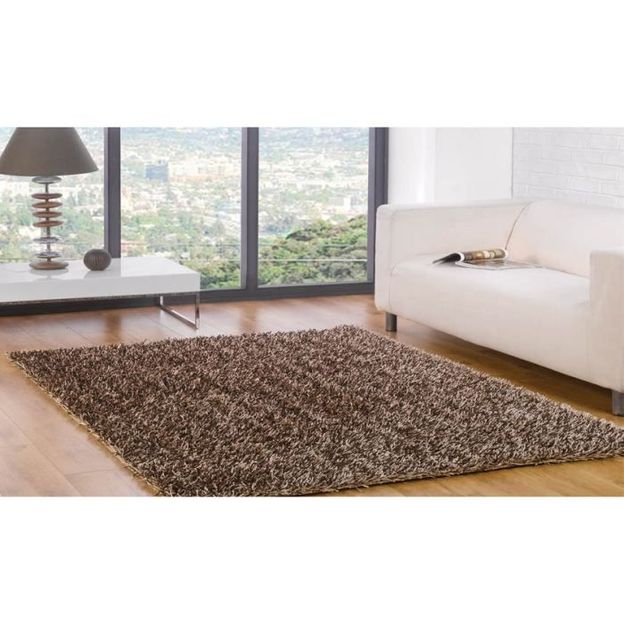 tapis poils long spider champagne choco 110x160 achat vente tapis cdiscount. Black Bedroom Furniture Sets. Home Design Ideas