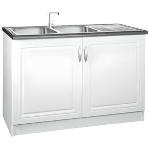 ELEMENTS BAS Meuble cuisine bas 120 cm sous évier DINA blanc