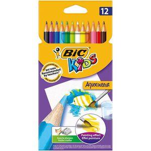 CRAYON GRAPHITE Bic - Kids Aquacouleur - Etui carton de 12 Crayons