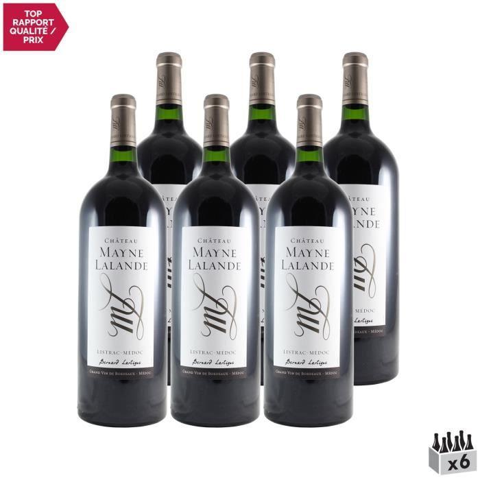 Château Mayne Lalande Cru Bourgeois MAGNUM Rouge 2018 - Lot de 6x150cl - Vin Rouge de Bordeaux - Appellation AOC Listrac-Médoc