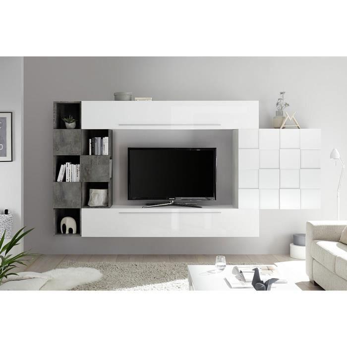 LUDOVICA 4 LAQUE BLANC ET OXYDE ENSEMBLE COMPOSITION MURALE MEUBLE TV TENDANCE