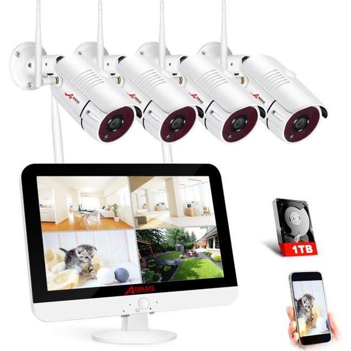 Kit camera de surveillance avec écran,5MP1920p,videosurveillance sans fil Extérieur,Vision Nocturne,1TB disques dur ANRAN