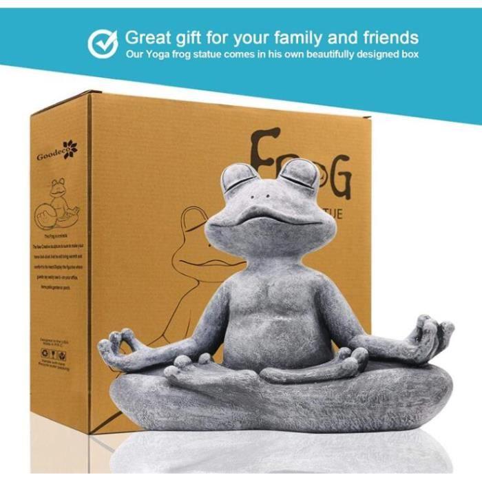 Statue de grenouille de yoga méditation Statue de jardin - Sculpture de jardin intérieur / extérieur pour la maison, terrasse, cour