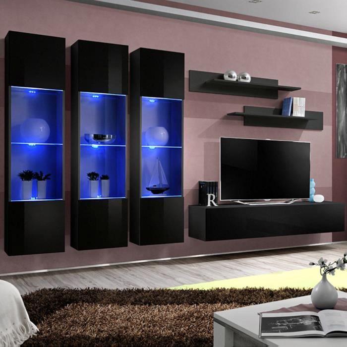 Ensemble meuble TV noir design NOVOLI Noir L 310 x P 40 x H 190 cm