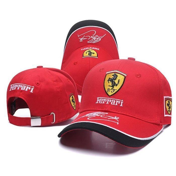 Casquette de baseball de course en plein air pour hommes et femmes, chapeau de papa en coton réglable avec logo Ferrari, [B260641]