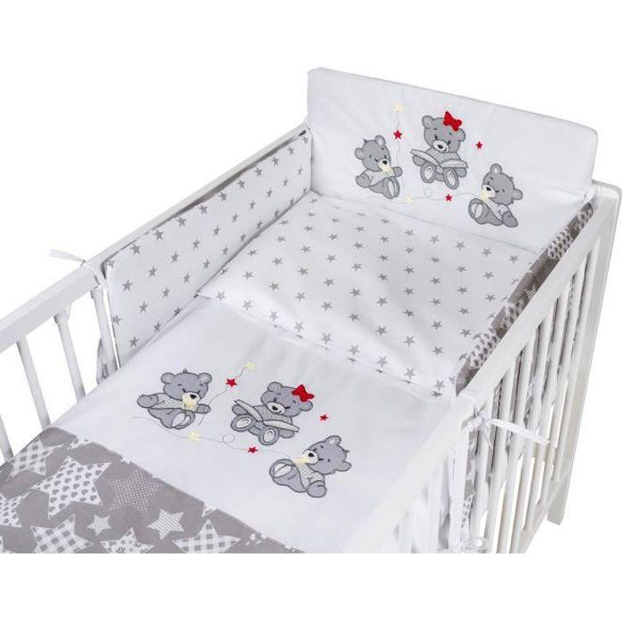 TOMI - Parure pour lit Bébé 60x120 cm -Trois oursons- + Etoiles Grises - Housse de couette, taie d'oreiller, tour de lit.