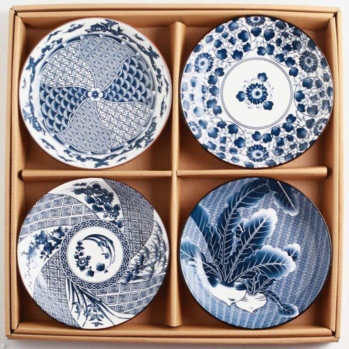 N A Assiette en Céramique Japonaise De Style Japonais Assiette De Sushi Peinte À La Main Assiette De Ménage Rétro Assiette Plate sou