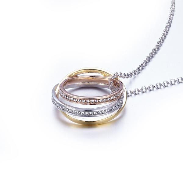 Pendentif Cercles 3 Ors Jaune, Blanc et Rose, Cristaux Swarovski Elements et Plaqué Rhodium