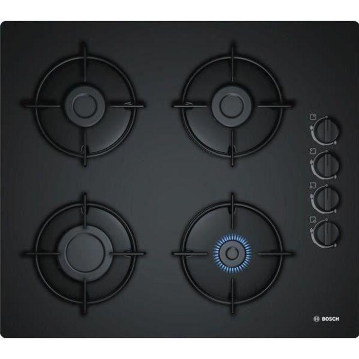 BOSCH POP6B6B10 Plaque de cuisson gaz - 4 foyers - 7400W - L56 x P48cm - Revêtement verre trempé - Noir