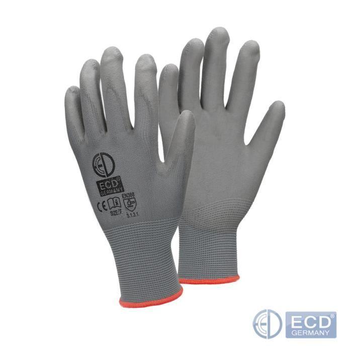 ECD Germany 48 Paires de Gants de Travail en PU - Taille 7-S - Couleur Gris - Élastique - Protection