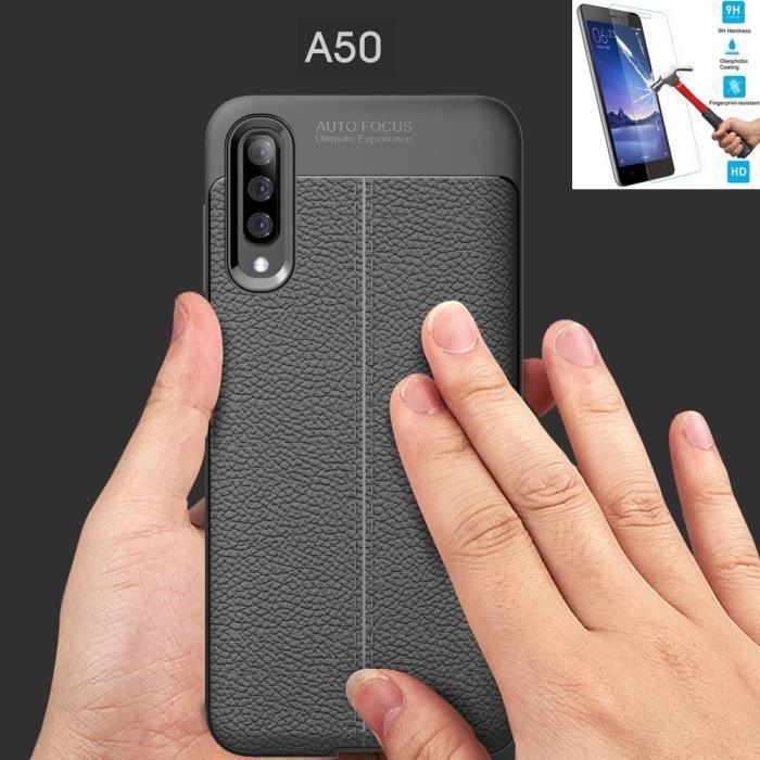 Samsung Galaxy A50 Pu Noir + Film Verre Trempé Coque Housse Etui En Silicone Gel Souple hfs-house®