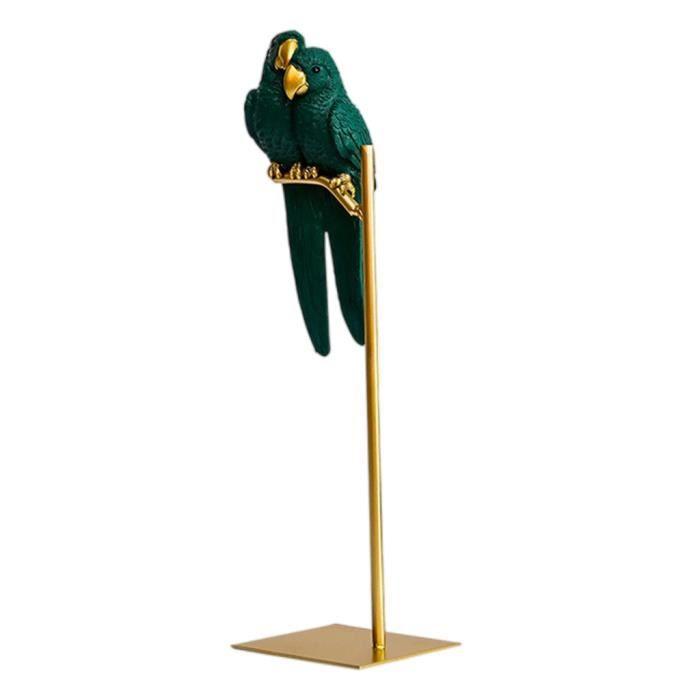 Perroquet Statue Moderne Art Résine Sculpture Petit Animal de Bureau Figurines pour La Maison Bureau Étagère Armoires Vert