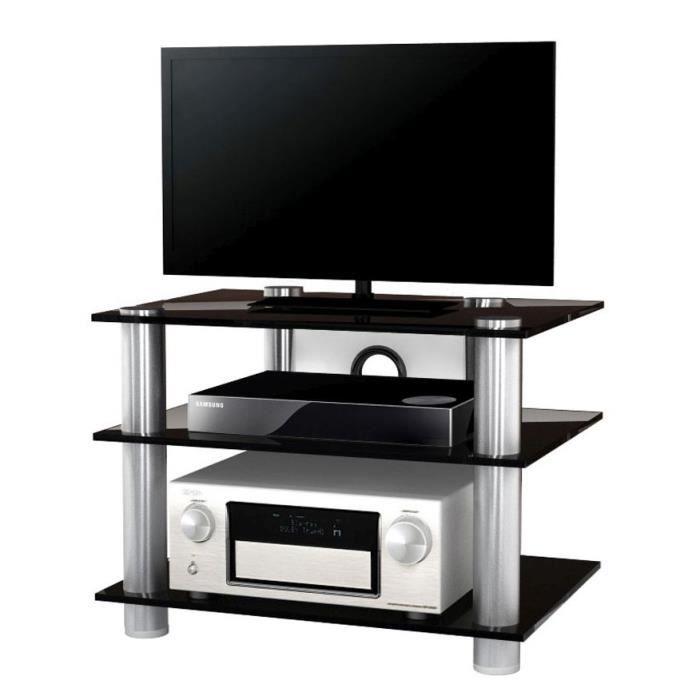 NETASA meuble tv hifi video commode rangement verre noir