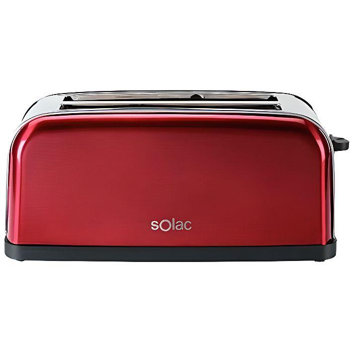 SOLAC Set Stillo Red - Grille-pain 1500W - 3 fonctions : dégivrage,chaleur et brunissage - 7 niveaux de puissance - 2 fentes - Rouge