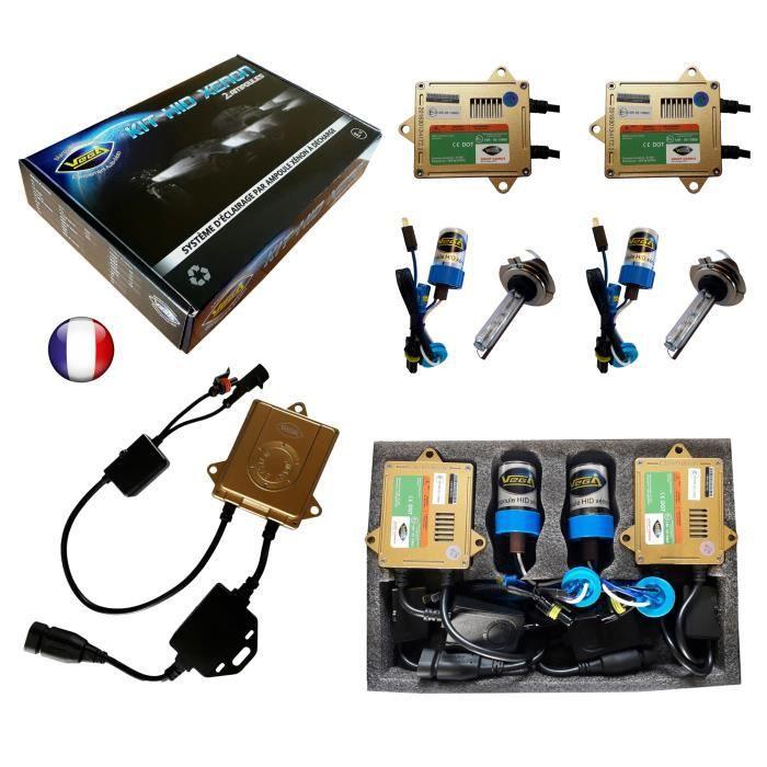 Kit HID Xénon Marque FRANCAISE Vega® H7 12000K 55W Canbus anti erreur ODB Conception ASIC ampoules à embase métallique