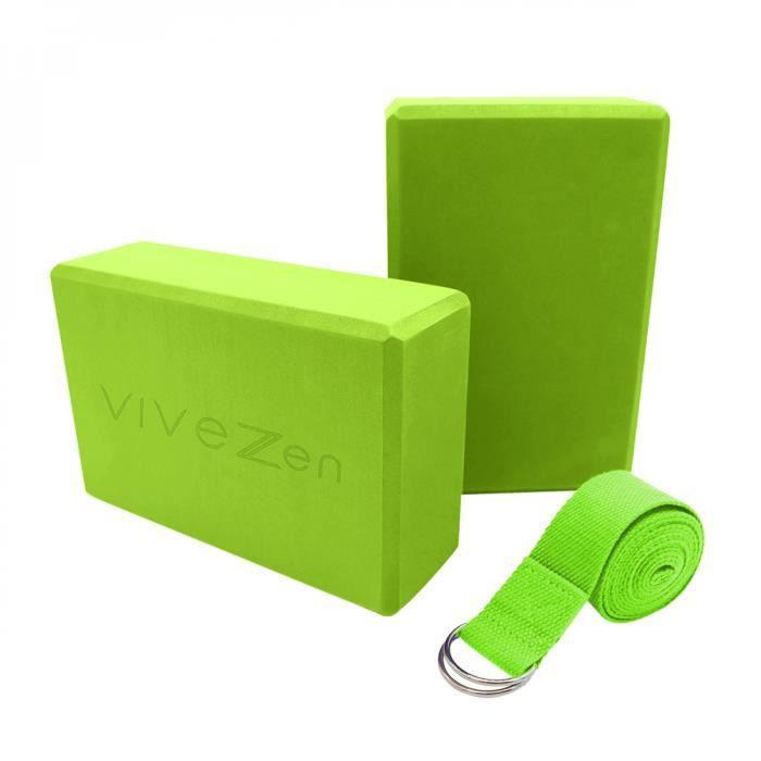 Lot de 2 briques de yoga 23 x 15 x 7,5 cm et sangle de yoga 183 x 3,8 cm - EVA - Vert