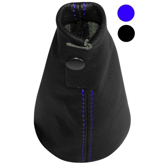 Aerzetix Soufflet levier de vitesse en 100/% CUIR v/éritable avec coutures//surpiq/ûres bleues