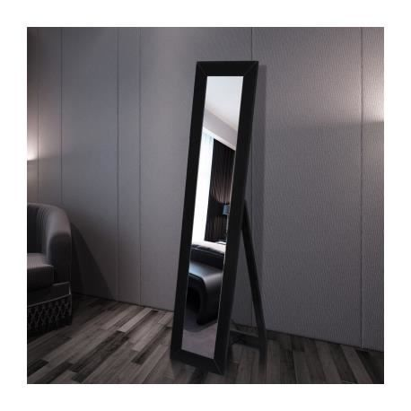 miroir en pied noir achat vente miroir mdf cdiscount. Black Bedroom Furniture Sets. Home Design Ideas