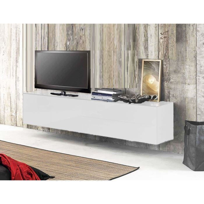 Meuble tv suspendu acia 311 s laqu gris achat vente for Meuble tv suspendu but