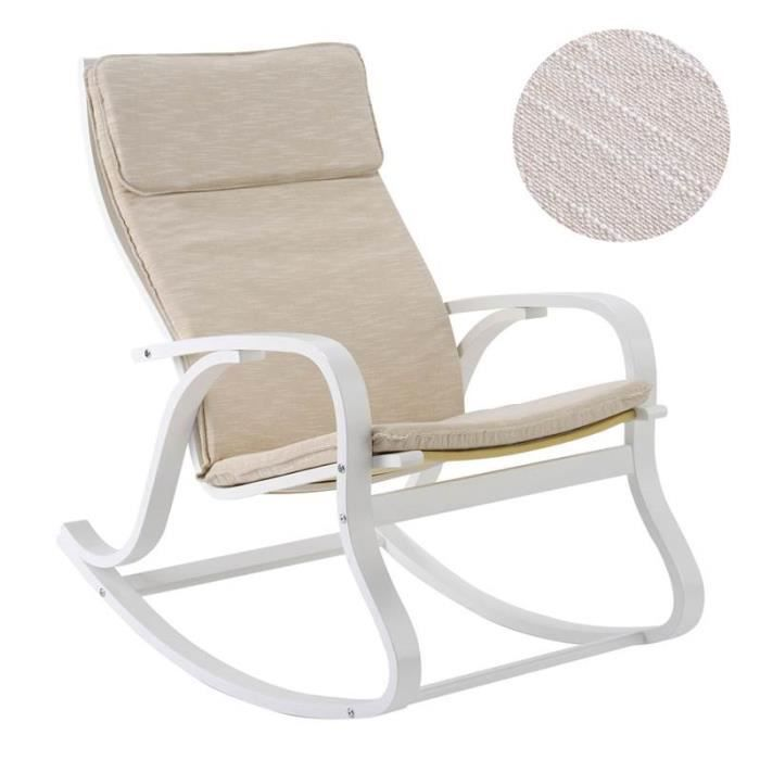 rocking chair h fauteuil bascule bois lin poudr achat vente fauteuil blanc cdiscount. Black Bedroom Furniture Sets. Home Design Ideas