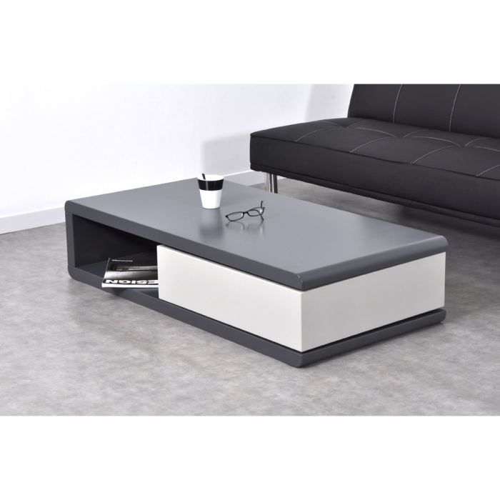 Push table basse avec tiroir pivotant gris achat vente for Table basse gris anthracite