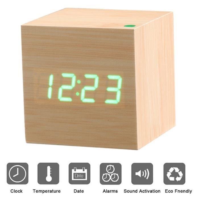 Mini LED R/éveil num/érique en Bois Bureau. #1 Reveil Matin /Électronique Num/érique LED Horloge de Bureau Affichage de la temp/érature de lheure Aliment/é par USB ou Batterie pour Maison