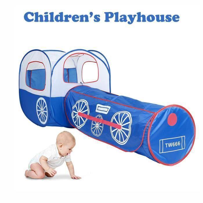 TENTE TUNNEL D'ACTIVITÉ Pliant Enfants Enfants Playhouse Blue Train Tunnel
