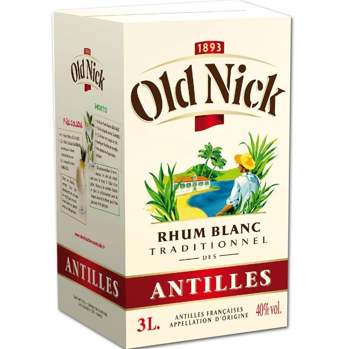 RHUM Bag in Box de Rhum Blanc Old Nick 40% 300cl