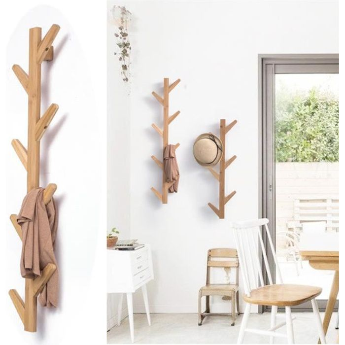 porte manteau mural en bois de bambou en forme d arbre. Black Bedroom Furniture Sets. Home Design Ideas