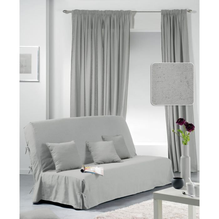 housse clic clac unity 2 coussins gris clair achat. Black Bedroom Furniture Sets. Home Design Ideas