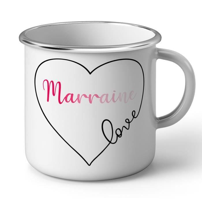 Mug En Metal Emaille Marraine Love Coeur Dessin Amour Achat